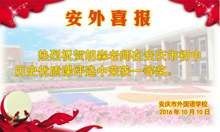 安庆市初中历史优质课获奖喜报