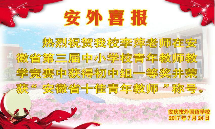安徽省第三届中小学校青年教师获奖喜报
