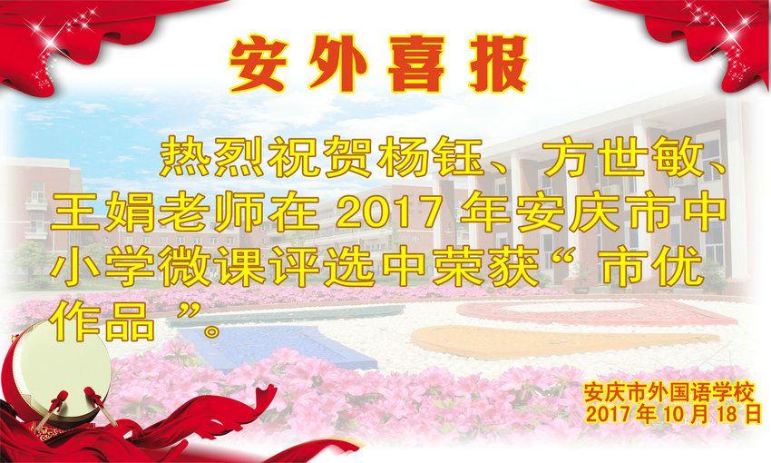 2017年安庆市中小学微课获奖喜报