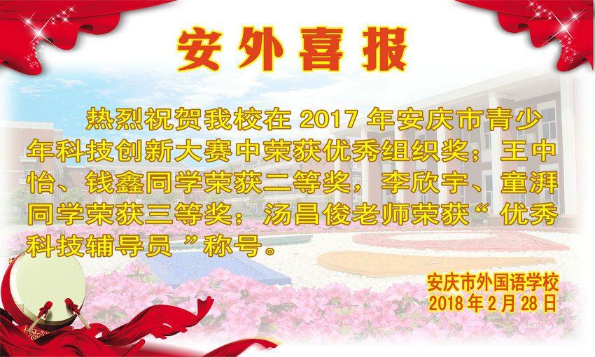 2017年安庆市青少年科技创新大赛获奖喜报