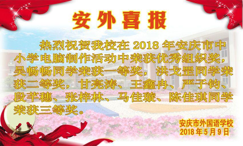 2018年安庆市中小学电脑制作活动获奖喜报