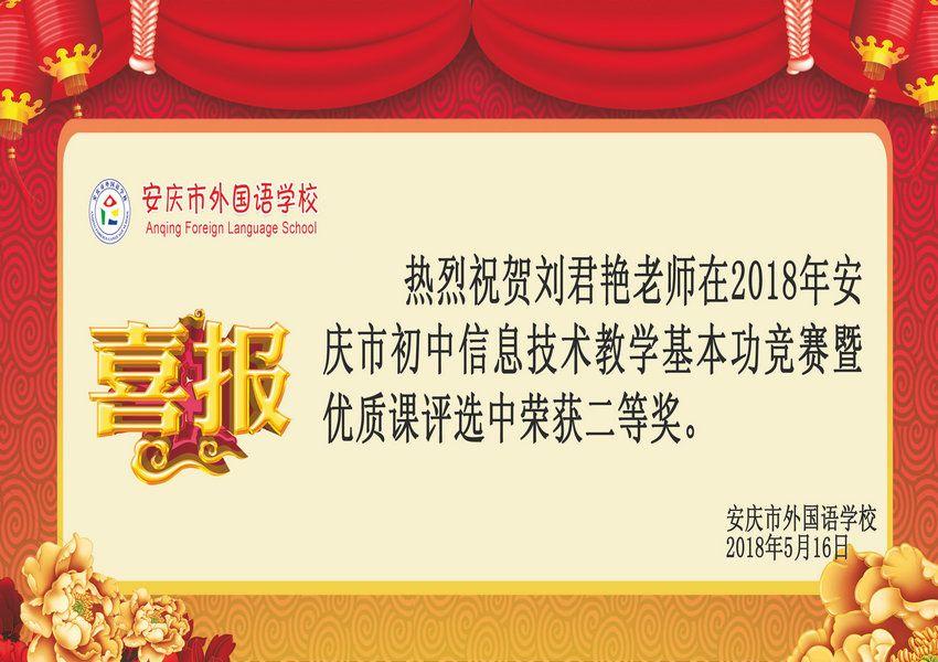 2018年安庆市初中信息技术教学基本功获奖喜报