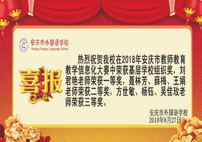 2018年安庆市教师教育教学信息化大赛获奖喜报