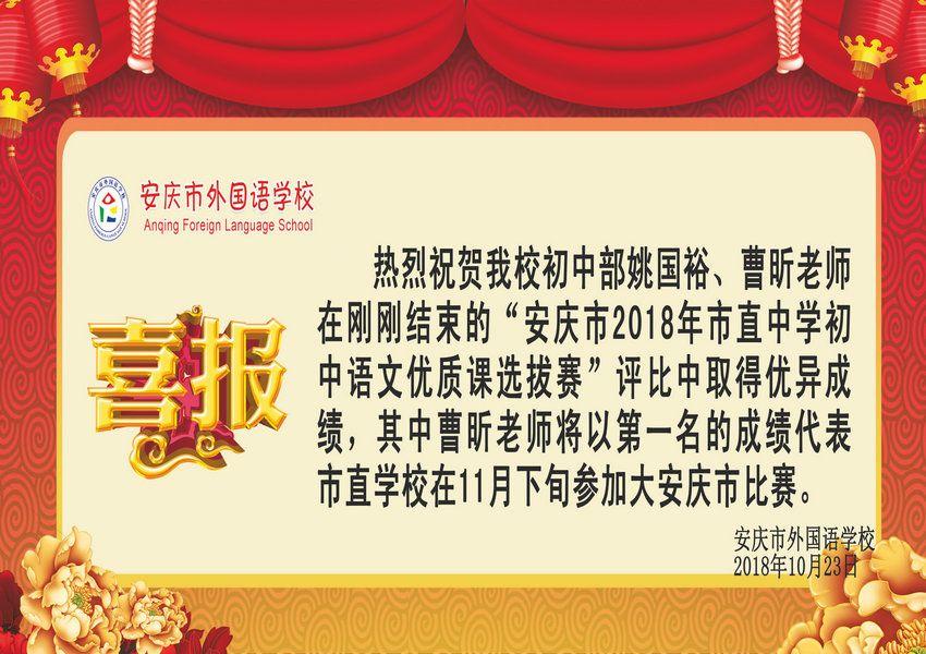 安庆市2018年市直中学初中语文优质课获奖喜报