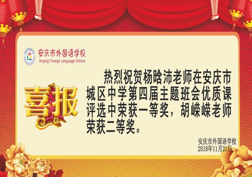 安庆市城区中学第四届主题班会优质课获奖喜报
