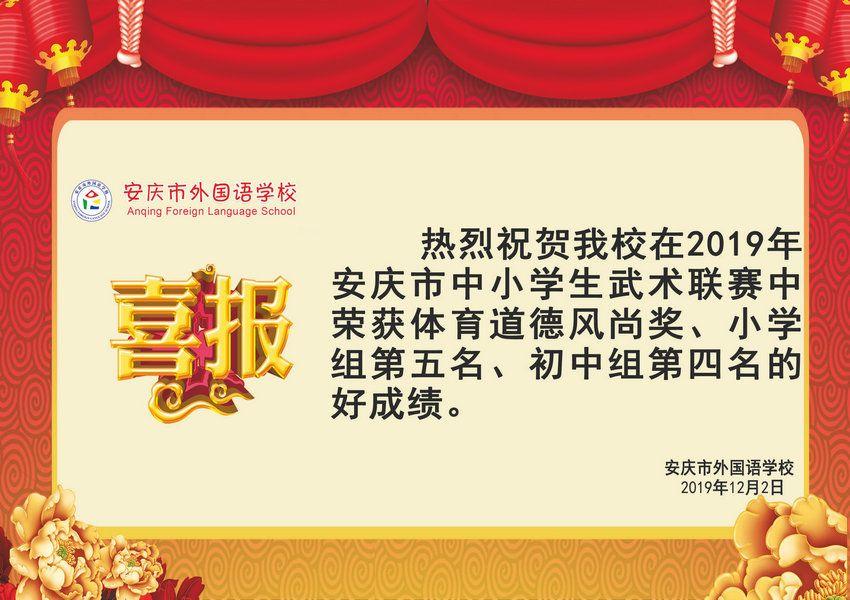 2019年安慶市中小學生武術聯賽獲獎喜報