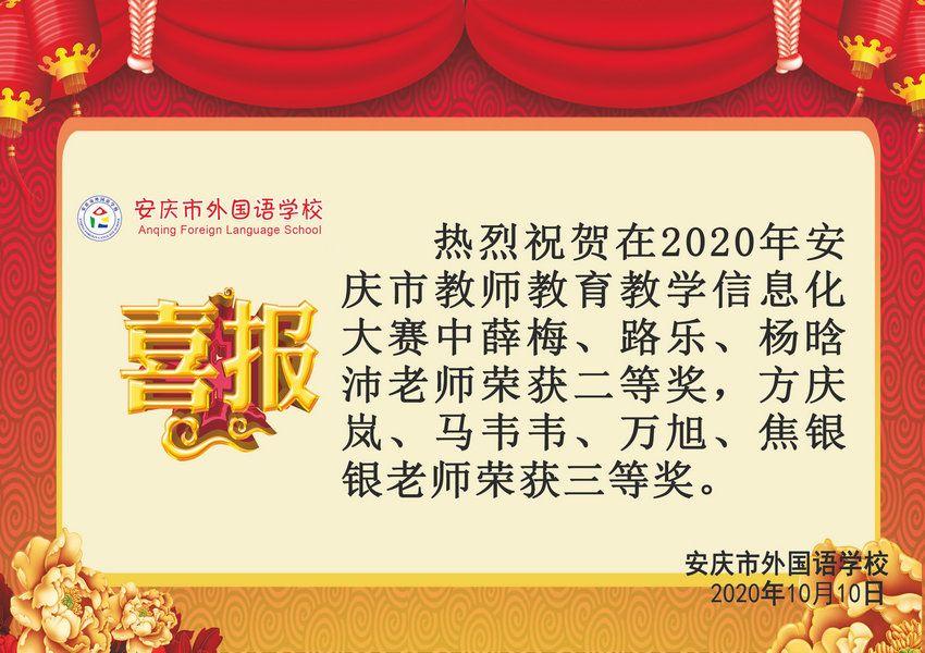 2020年安庆市教师教育教学信息化大赛获奖喜报