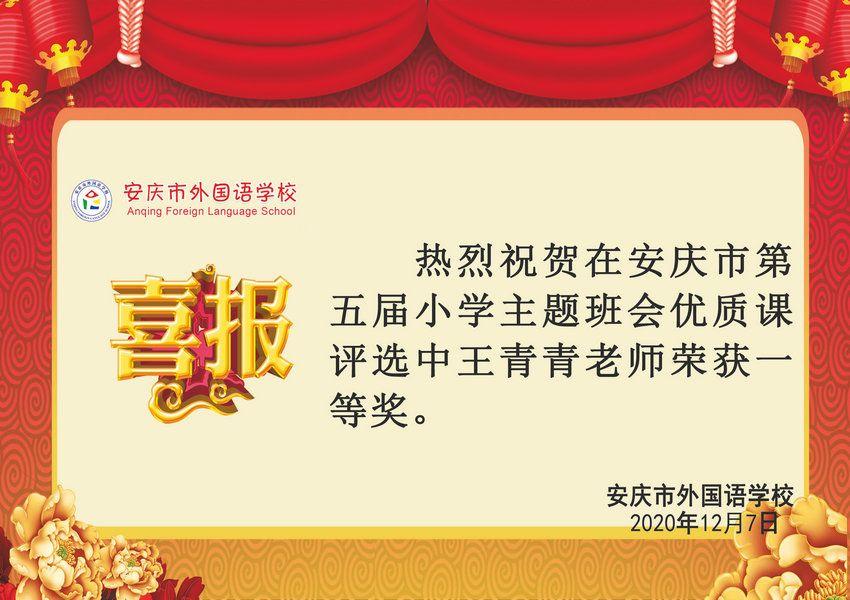 安庆市第五届小学主题班会优质课获奖喜报