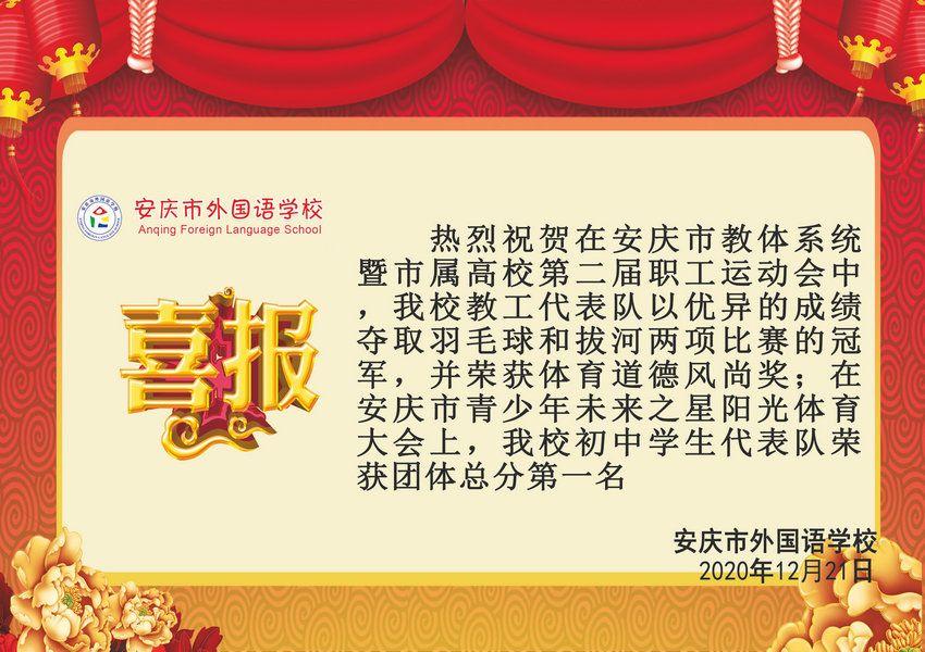 安庆市教体系统暨市属高校第二届职工运动会获奖喜报