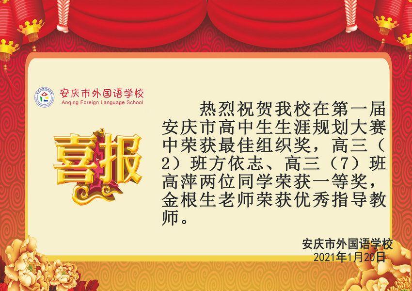 安庆市第一届高中生生涯规划大赛获奖喜报